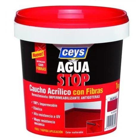 Impermeabilizante aguastop caucho acrilico con fibras 1 kg Negro
