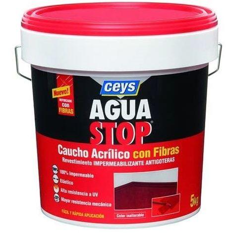 Impermeabilizante aguastop caucho acrilico con fibras 5 kg Negro
