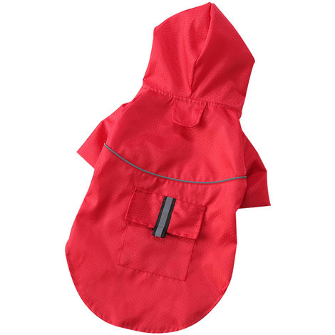 Impermeable doble para mascotas, borde rayado reflectante, Rojo, S