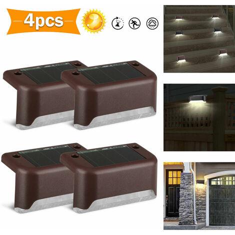 Impermeable IP55, con energía solar, luz LED para cubierta, aplique de pared, blanco cálido, paisaje, escalera, pasillo, exterior de la casa, patio, escaleras, jardín, vallas, decoración (blanco cálido, juego de 4)