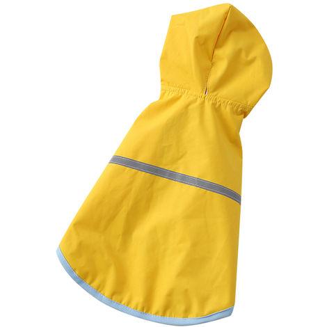 Impermeable para mascotas, ropa con capucha para perros, amarillo, M