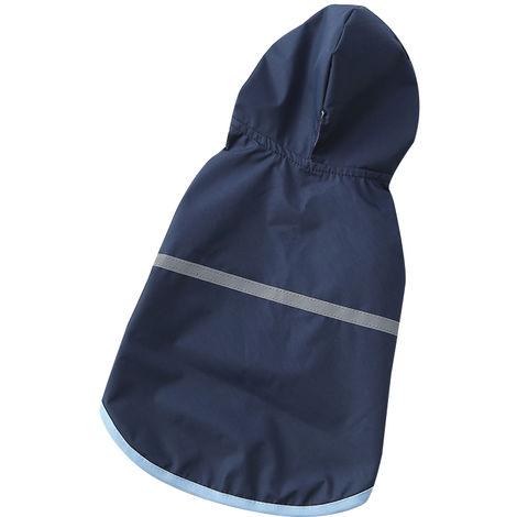 Impermeable para mascotas, ropa con capucha para perros, azul marino, S