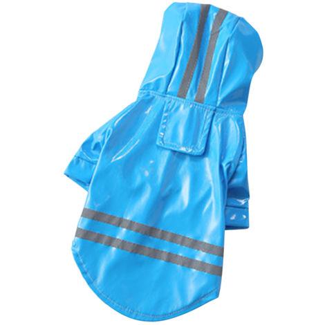 Impermeable para perros, impermeable reflectante, ropa para mascotas, L, azul