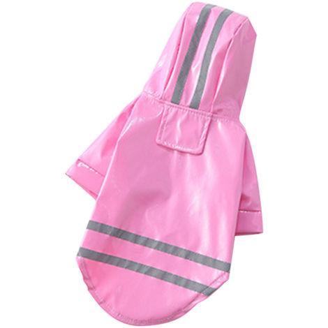 Impermeable para perros, impermeable reflectante, ropa para mascotas, M, rosa