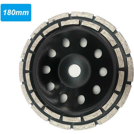 Impregnado de diamante de la rueda Espesar marmol pulido Beton pieza de dos hileras de ruedas abrasivas, Negro, 180 mm