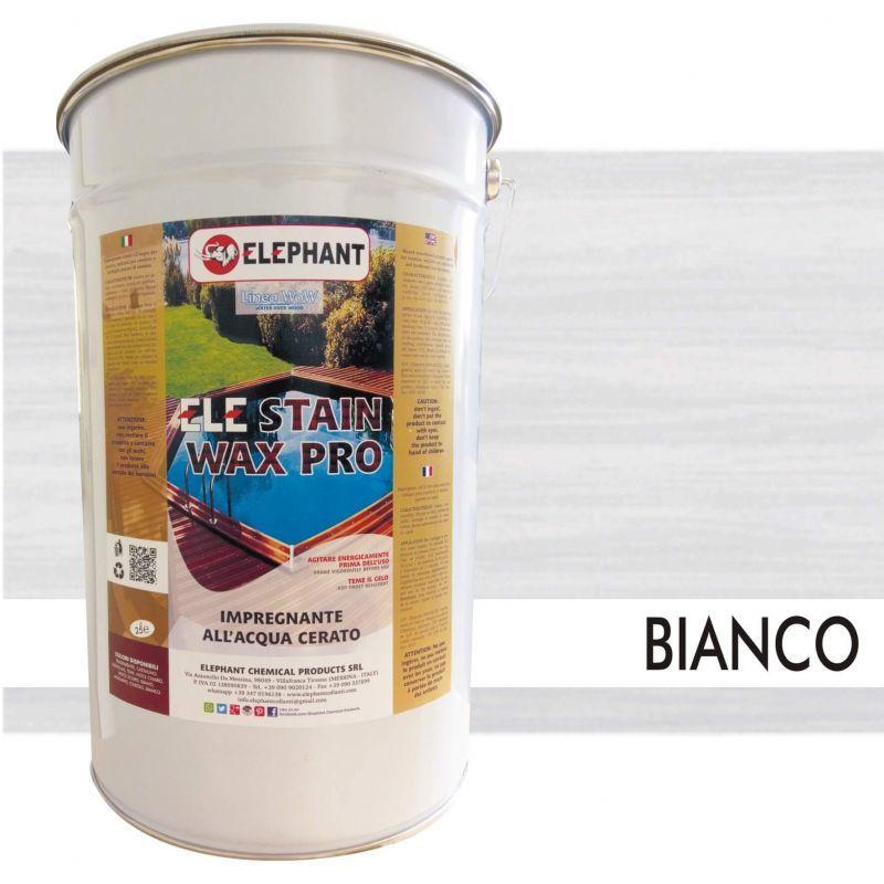 Image of Elephant Chemical Products - Impregnante per legno all'acqua CERATO (Bianco) - ELE STAINWAX PRO 25 lt