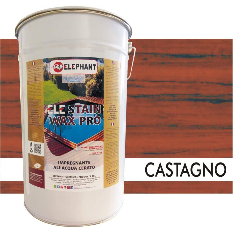 Image of Elephant Chemical Products - Impregnante per legno all'acqua CERATO (Castagno) - ELE STAINWAX PRO 25 lt