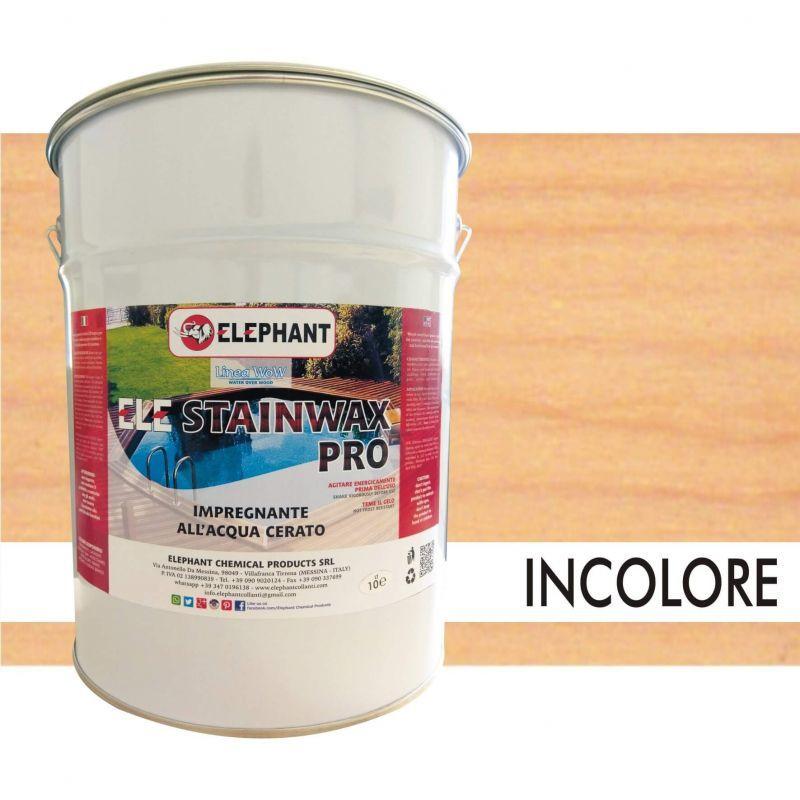 Image of Elephant Chemical Products - Impregnante per legno all'acqua CERATO (Trasparente) - ELE STAINWAX PRO 10 lt