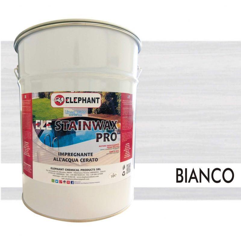 Image of Elephant Chemical Products - Impregnante per legno all'acqua CERATO (Bianco) - ELE STAINWAX PRO 10 lt
