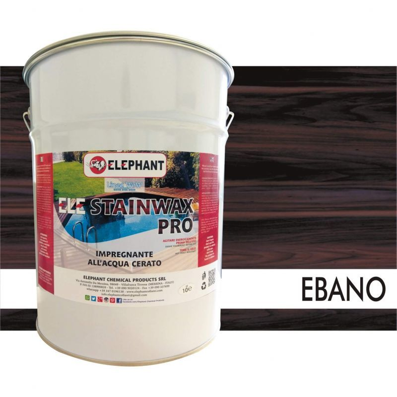 Image of Impregnante per legno all'acqua CERATO (Ebano) - ELE STAINWAX PRO 10 lt