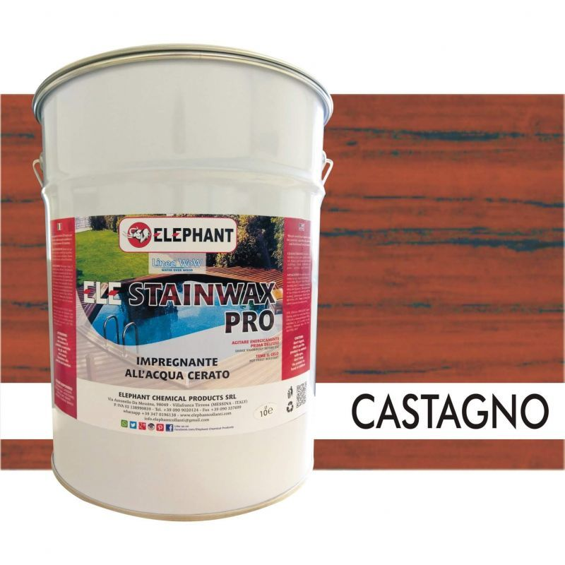 Image of Impregnante per legno all'acqua CERATO (Castagno) - ELE STAINWAX PRO 10 lt