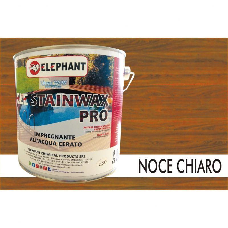Image of Elephant Chemical Products - Impregnante per legno all'acqua CERATO (Noce Chiaro) - ELE STAINWAX PRO 2,5 lt