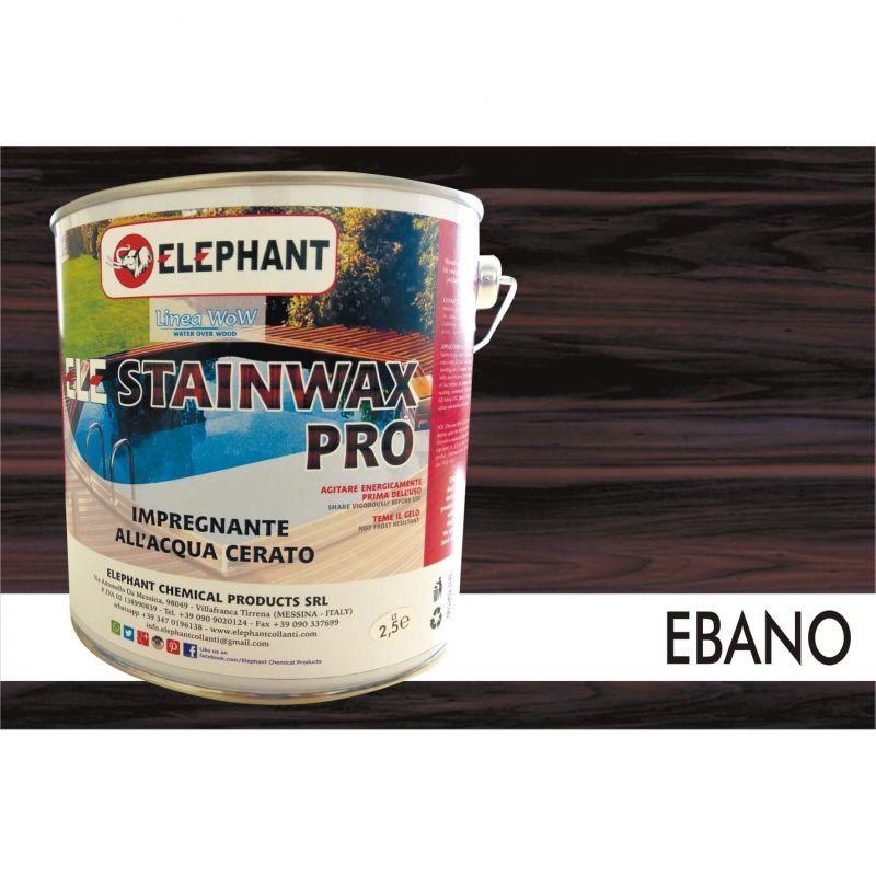 Image of Elephant Chemical Products - Impregnante per legno all'acqua CERATO (Ebano) - ELE STAINWAX PRO 2,5 lt
