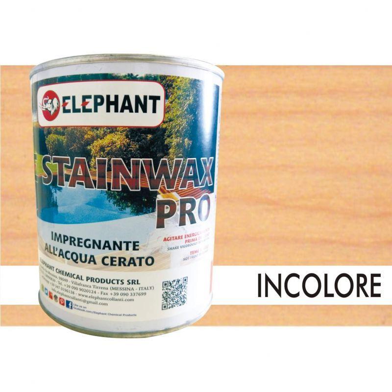 Image of Elephant Chemical Products - Impregnante per legno all'acqua CERATO (Trasparente) - ELE STAINWAX PRO 0,75 lt