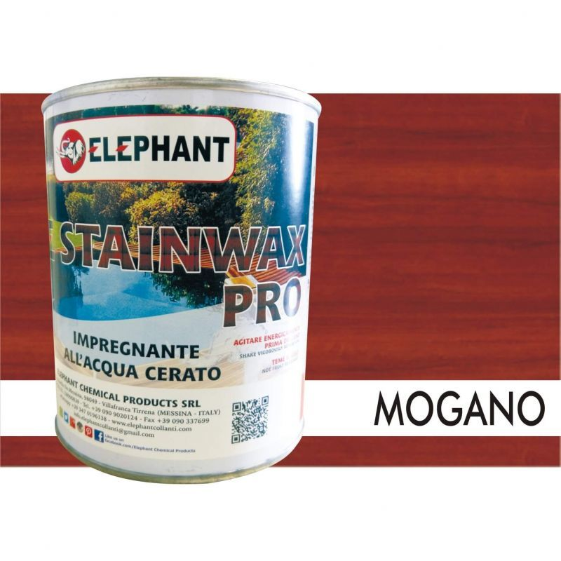 Image of Elephant Chemical Products - Impregnante per legno all'acqua CERATO (Mogano) - ELE STAINWAX PRO 0,75 lt