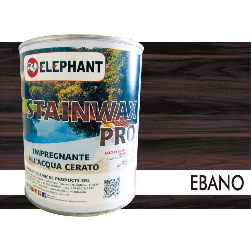 Image of Elephant Chemical Products - Impregnante per legno all'acqua CERATO (Ebano) - ELE STAINWAX PRO 0,75 lt