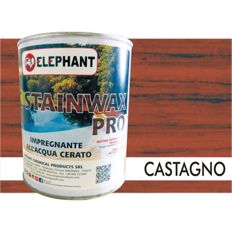Image of Elephant Chemical Products - Impregnante per legno all'acqua CERATO (Castagno) - ELE STAINWAX PRO 0,75 lt
