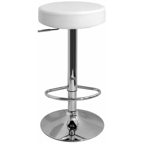 Impresa Adjustable Bar Stool With White Faux Leather Padded Seat And 360 Degree Swivel White Faux Leather Chrome White 63.5 - 83.5 cm Chrome