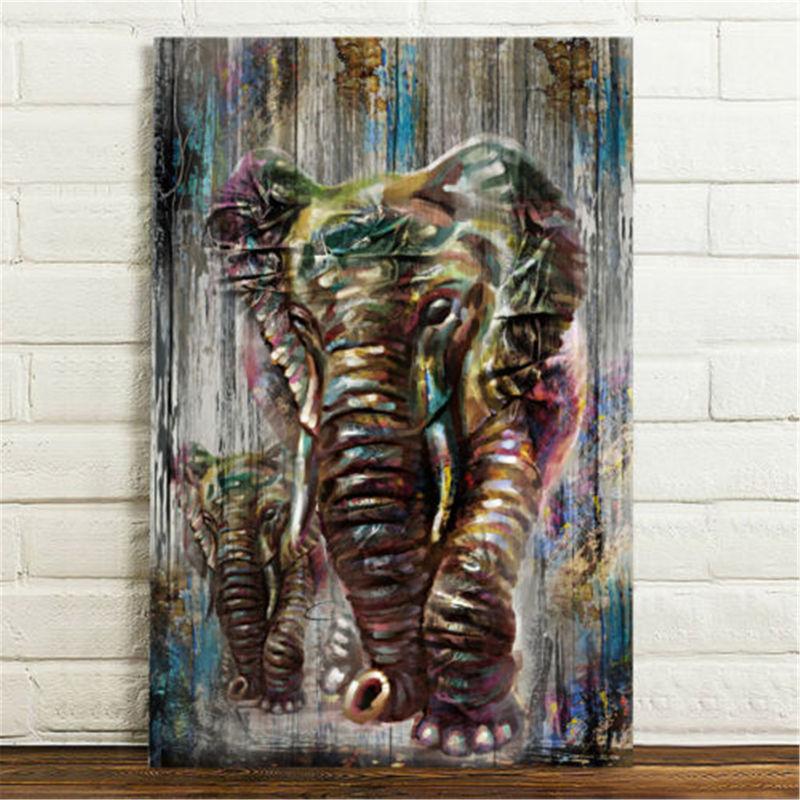 Impresiones en lienzo sin marco Decoración moderna de la pared del hogar Pintura de la acuarela Elefante