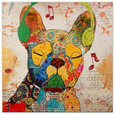 Impression moderne sur toile avec Dog cm 80x80x3,5 Artedalmondo AS362X1