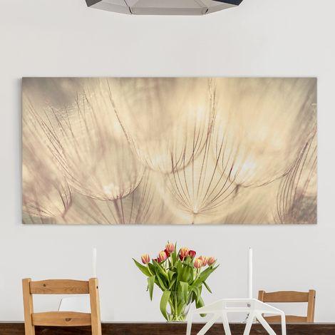 Impression sur toile - Dandelions Close-Up In Sepia Tones - Large 1:2 Dimension: 30cm x 60cm