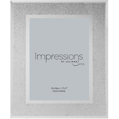 Impressions Silver Glitter Crystal Photo Frame - 5' x 7'