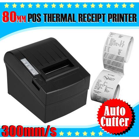 Imprimante de reçus à points thermique noire 300mm / sec 80mm avec fonction AUTO-CUT