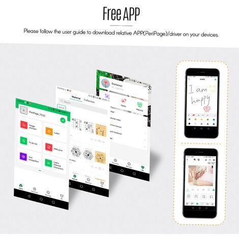 Imprimante Thermique Sans Fil Bt, Resolution 203Dpi, Blanc