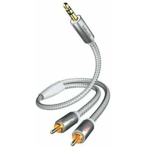 In-akustik Premium II - Cable de audio (clavija de 3,5 mm, 2 conectores macho RCA, 1,5 m), color blanco