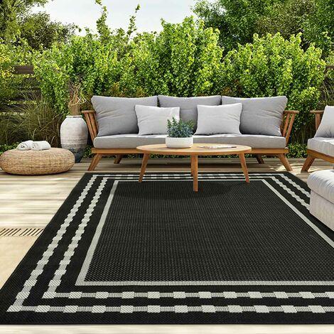 In- und Outdoor Teppich Terrassen & Balkon Küche Teppich Bordüre Schwarz