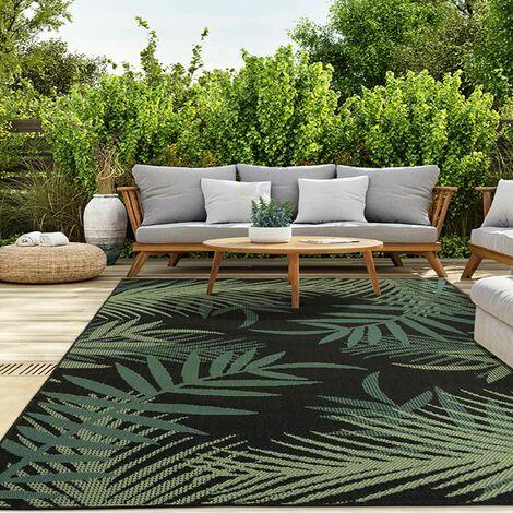 In- und Outdoor Teppich Terrassen & Balkon Küche Teppich Palmen Design Schwarz