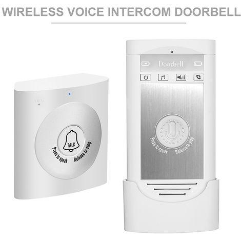 Inalambrica de voz del timbre del intercomunicador, 2 vias de conversacion monitor, blanco