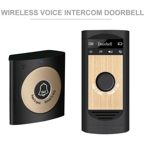 Inalambrica de voz del timbre del intercomunicador, 2 vias de conversacion monitor, el oro negro