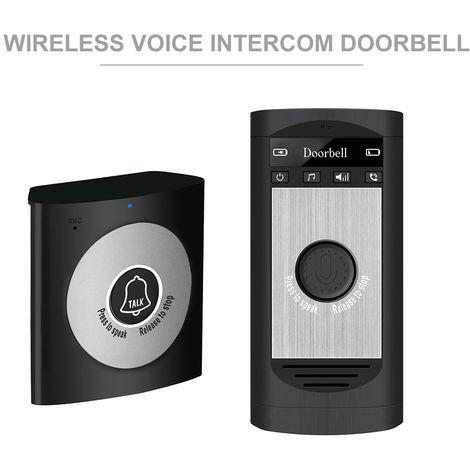 Inalambrica de voz del timbre del intercomunicador, 2 vias de conversacion monitor, plata negro
