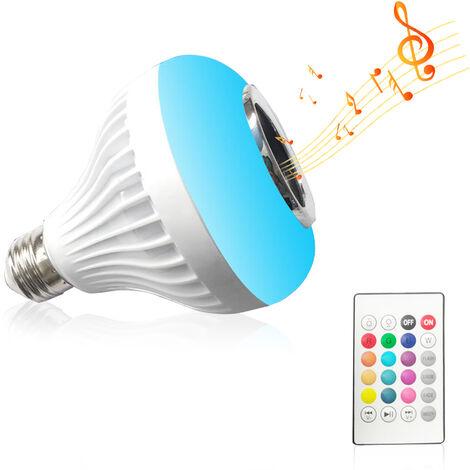 Inalambrico BT E27 remoto Smart Control del bulbo de color RGB que cambia la bombilla que jugar musica bulbo audio incorporado Altavoz, blanca