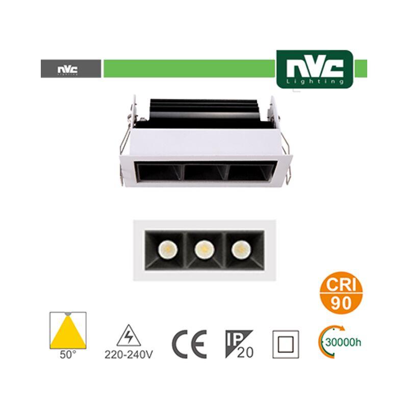 faretto incasso 3x3 watt 220-240 volt 3 luci A+ CE bianco bianco naturale no quadrato lif nv52c3x3w4k50wb