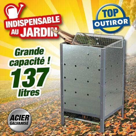 Incinérateur en acier galvanisé pour les déchets de votre jardin, contenance 137 litres.