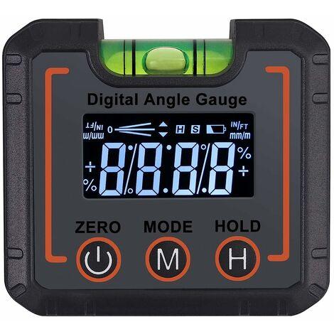 Inclinomètre LCD numérique avec bulles horizontales, boîte inclinée du rapporteur,détecteur d'angle Niveau de jauge d'angle magnétique numérique,rapporteur,jauge de biseau