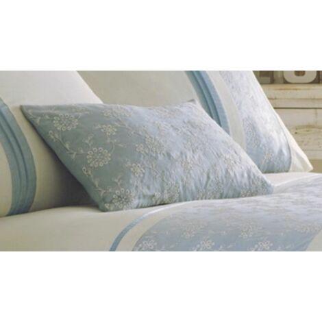 Indea Blue Floral Embroidered Filled Boudoir Cushion 32x50cm