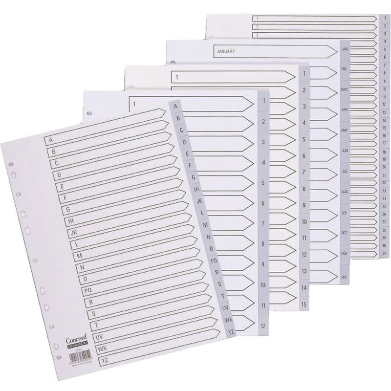 Image of Index 1-31 A4 Grey PVC 62805 - Concord