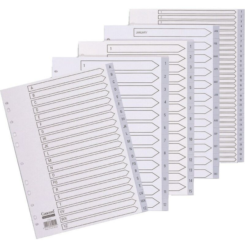 Image of Index 1-20 A4 Grey PVC 62705 - Concord