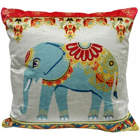 Indian Red Square Cushion Cover Scatter Case Asian Inspired Elephant A