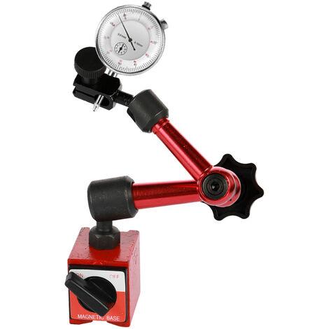 Indicador de esfera redonda de metal + soporte de base magnetica,0-10mm,0.01mm