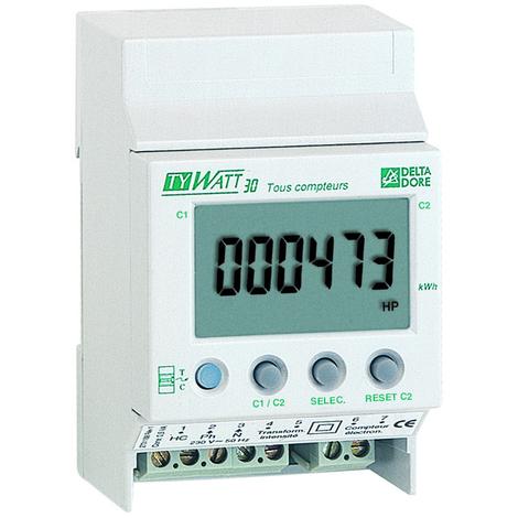 Indicateur de consommation TYWATT 30 - Tous compteurs monophasés - Delta Dore