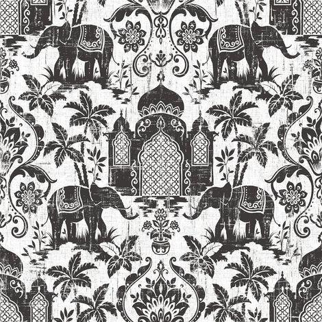 Indo Chic Non-Woven Wallpaper Elephant Oriental India Black White Silver Glitter