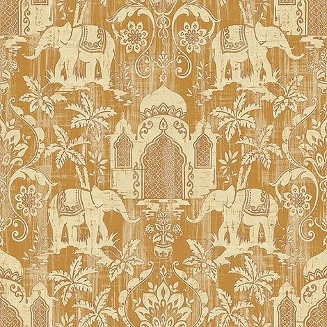Indo Chic Non-Woven Wallpaper Elephant Oriental India Metallic Gold Cream