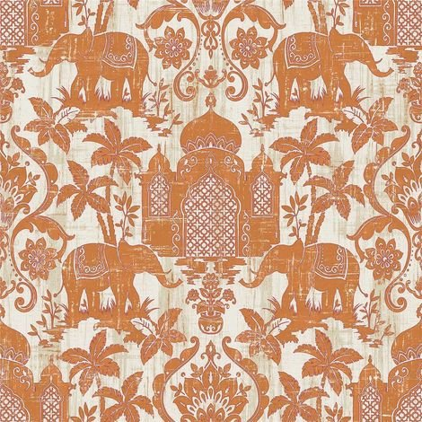 Indo Chic Non-Woven Wallpaper Elephant Oriental Taj Mahal Asia Rust Orange Cream