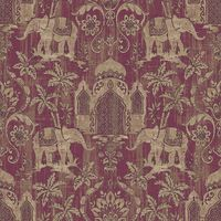 Indo Chic Wallpaper Elephant Temple Palm Trees Paste The Wall Purple Gold Beige