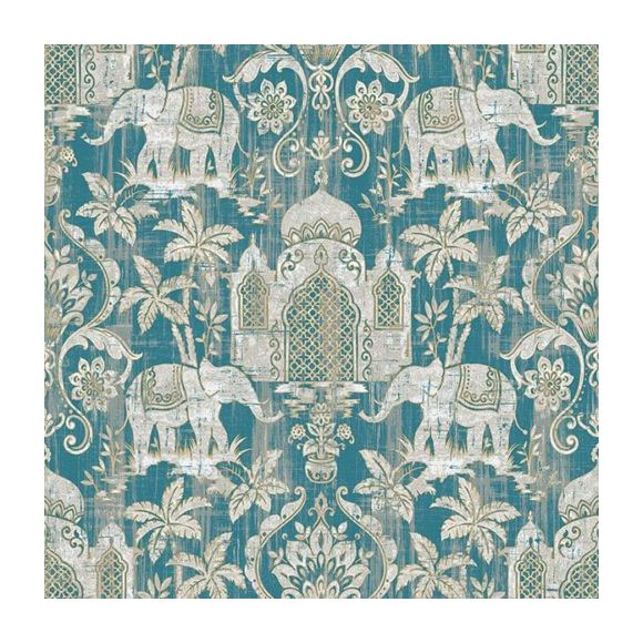 Image of Indo Chic Wallpaper Elephant Temple Palm Trees Tropical Paste The Wall 2 Colours