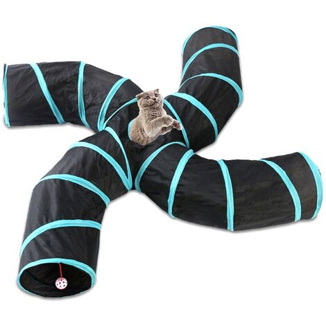 Indoor Cat Tunnel 4 Way Pet Play Tunnel Collapsible Tunnel Tube Kitty Tunnel